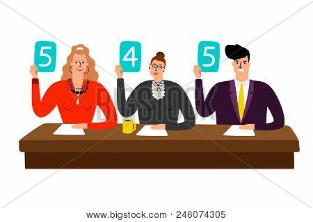 Competition Jury. Contest Judges With Score Panels At Table, Judging People Committee With Scorecard