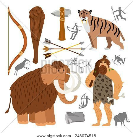 Ancient homosapiens. Stone age neanderthal caveman vector illustration, primitive survival tools and prehistoric wooly mammoth and cave tiger isolated on white background poster