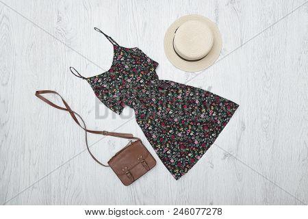 Black Summer Dress, Handbag And Hat. Fashionable Concept