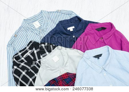 Five Colorful Shirts, Assortment. Fashion Concept, Wardrobe
