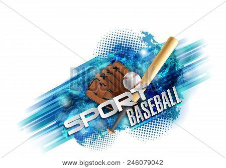 Baseball Poster With A Baseball. Baseball Games Advertising. Announcement Of A Sporting Event. Vecto