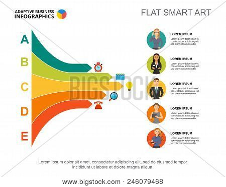 Five Managers Process Chart Template For Presentation. Business Data. Abstract Elements Of Diagram,