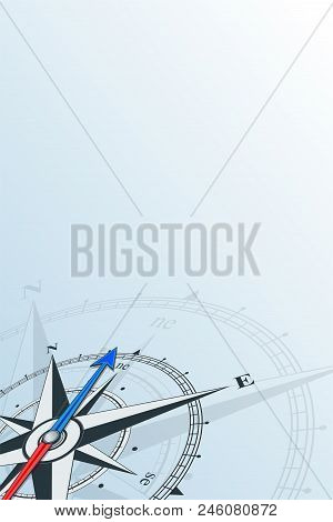 Compass Northeast Background Vector Illustration. Arrow Points To The Northeast. Compass On A Blue B