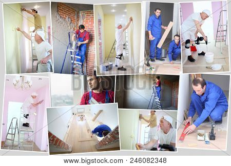 fourteen workers (five models) mount laminate floor in apartment, paint walls, plaster, collage.