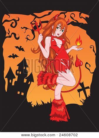 Devil girl with fire