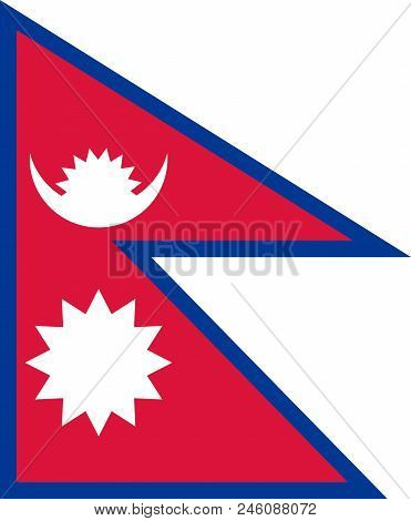 Nepali National Flag, Official Flag Of Nepal Accurate Colors, True Color