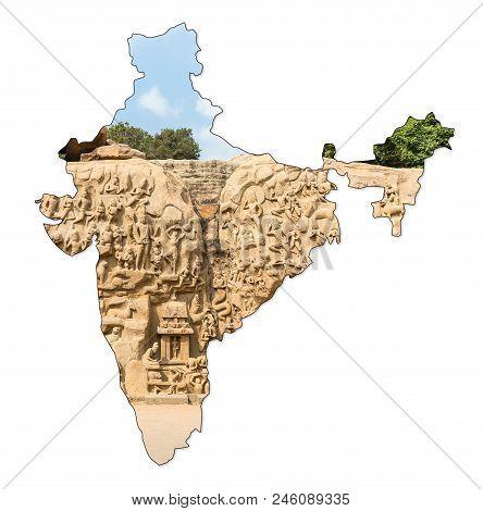 Arjunas's Penance, Mahabalipuram, Tamil Nadu, India In Shape Of India