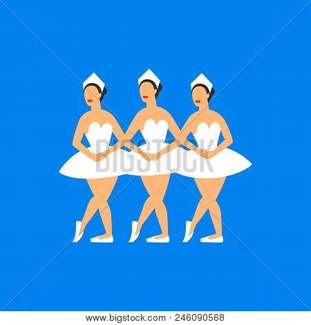 Ballet Dancers. Three Balerinas Dancing Swan Lake On A Blue Background. Russian Ballet By Tchaikovsk