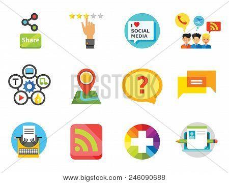 Social Media Icon Set. Quality Label Question Bubble Social Media Blogging Plus Sign Content Managem