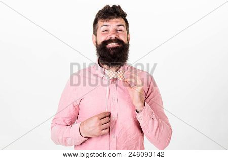 Fashion And Dress Code Concept. Man Holding Paper Party Props Bow, White Background. Hipster With Be