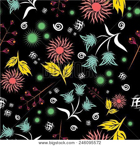 Seamless Floral Vector Pattern. Modern Abstract Bright Colorful Style. Hand Drawn, - Stock. Backgrou