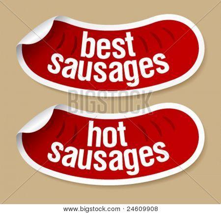 Best hot sausages stickers set.