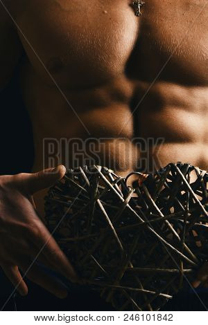 Sports, Bodybuilding, Love And Decor Concept. Guys Abs And Strong Chest. Decoration And Male With Na