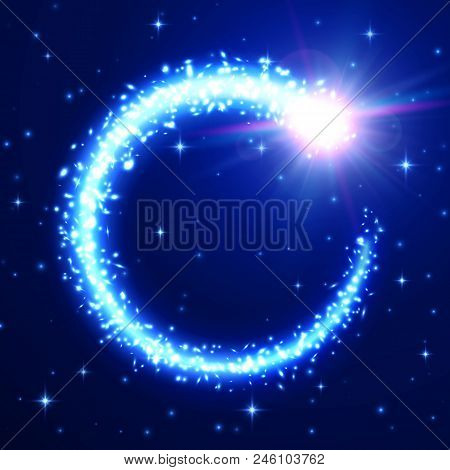 Flying Meteor On Blue Starry Night Sky Backdrop. Glowing Light Comet Tail Frame. Starry Space Backgr