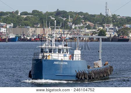 New Bedford, Massachusetts, Usa - June 12, 2018: R/v James K Goodwin, Hailing Port Boston, Massachus