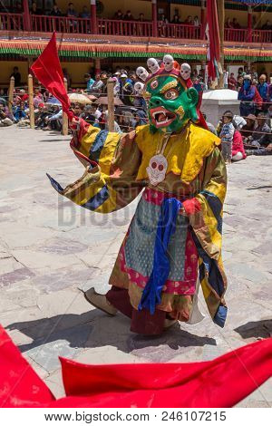 Ladakh, India - July 4, 2017: Hemis Tsechu, a Tantric Buddhist ceremony at Hemis monastery, with tantric mask dancing/Cham dance performed by the monks. Drukpa lineage of the Kagyu sect.