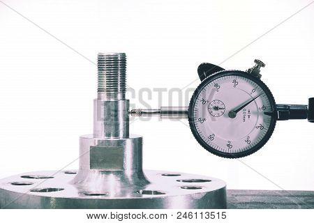 Close Up Of Dial Gauge Measure The Part After Production Process To Check The Precision And Accuracy