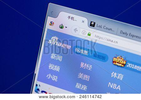 Ryazan, Russia - June 17, 2018: Homepage Of Sina Website On The Display Of Pc, Url - Sina.cn