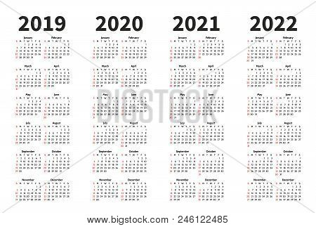 Calendar 2019, 2020, 2021 And 2022 Year Vector Design Template. Simple Minimalizm Style. Week Starts