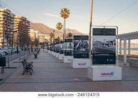 Malaga, Spain - February 14, 2018. King Of Spain Promenade Near The Beach, Fuengirola City, Costa De