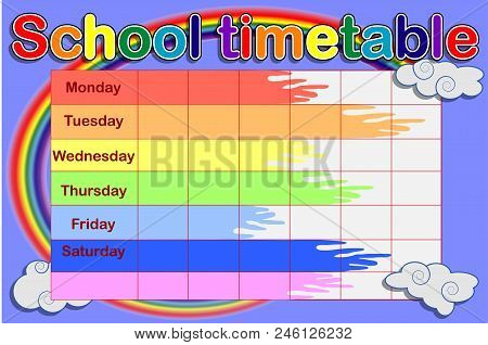 School Timetable With Paint Cans And A Rainbow