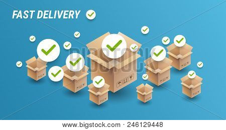 Fast Delivery Concept Banner - Delivery Cardboard Boxes Icons And Check Marks - Blue Background With
