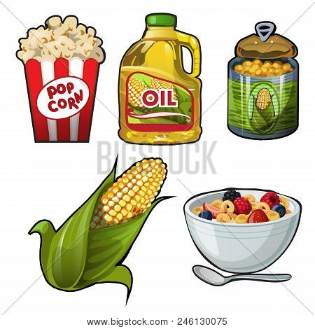 Set Of Tasty And Useful Food Of Corn Isolated On White Background. Vector Cartoon.