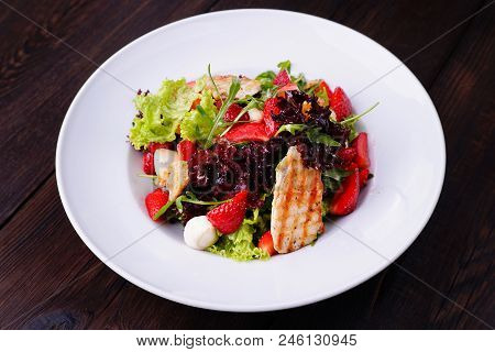 Healthy Mixed Salad With Chicken And Strawberry