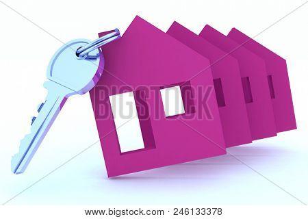 House key. 3d illustration on white background