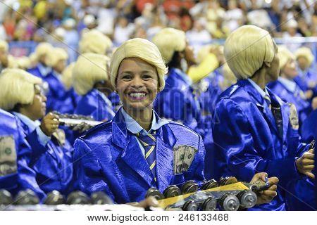 Rio, Brazil - February 12, 2018: Samba School Parade In Sambodromo. Unidos Da Tijuca During Parade O