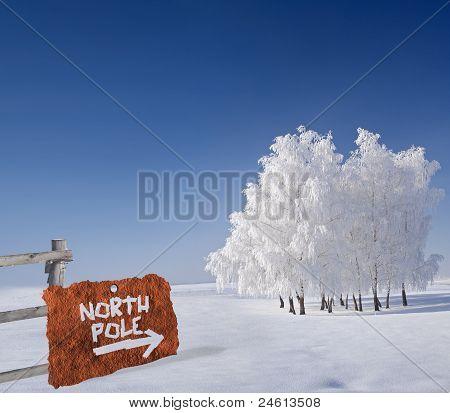 Rusty Metallic Sign Indicating North Pole