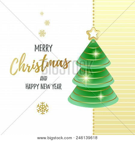 Merry Christmas And Happy New Year. Greeting Card With Abstract Christmas Tree. Vector Illustration.