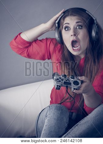 Nerd Geek Young Adult Women Playing On The Video Console Holding Game Pad Being Shocked Gaming Gamer