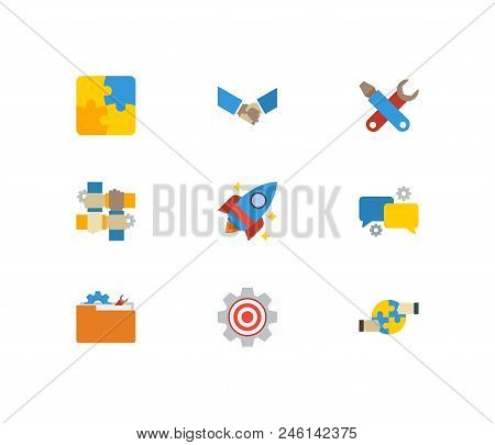 Technology Cooperation Icons Set. Handshake And Technology Cooperation Icons With Technical Developm