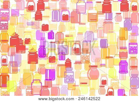 Seamless Pattern Of Jar Glass For Jam Or Honey. Colorful Collection Of Flat Illustration. Transparen