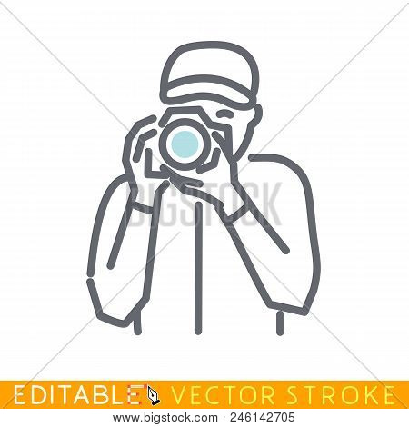 Photographer Takes Picture. Editable Stroke Sketch Icon. Stock Vector Illustration.