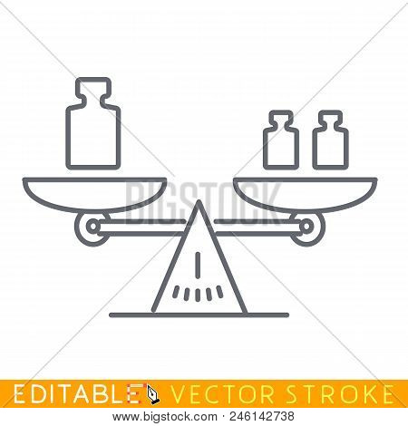 Weight Lever Balance Scale. Editable Stroke Sketch Icon. Stock Vector Illustration.