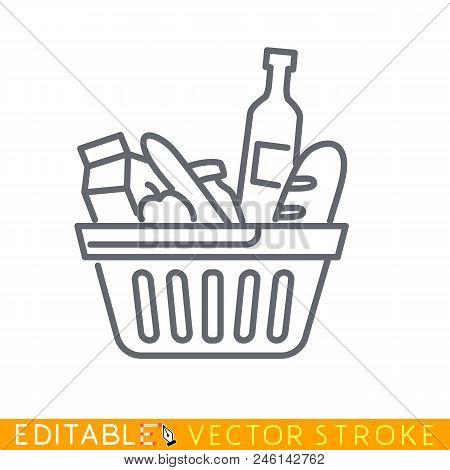 Consumer Basket. Editable Stroke Sketch Icon. Stock Vector Illustration.