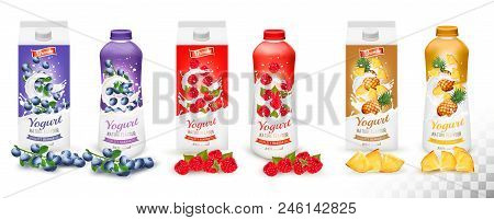 Set Of Yogurt In Bottles  And Boxes With Fruit And Berries. Blueberry, Raspberry And Pineapple. Desi