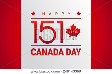 Happy canada day vector photo free trial bigstock happy canada day greeting card canadian flag maple leaf 151 years canada independence m4hsunfo