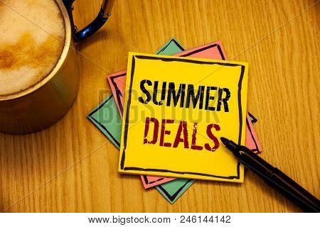 Words Writing Textss Summer Deals. Business Concept For Special Sales Offers For Vacation Holiday Tr