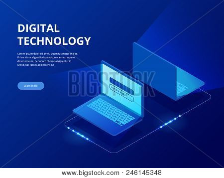 Isometric Tech Devices Connected, Big Data Processing, Energy Station Of Future, Server Room Rack, D