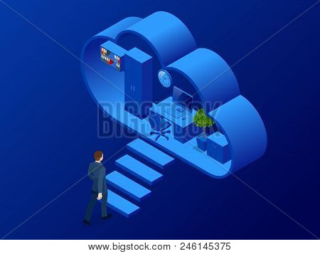 Isometric Cloud Office With People Concept. Web Banner For Data Processing In The Cloud. Cloud Stora