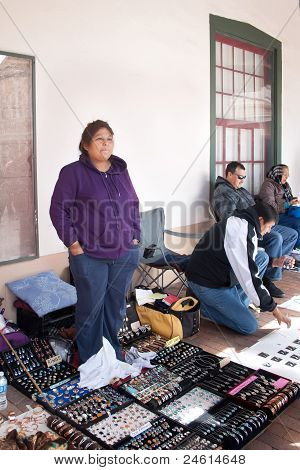 Native Indian Jewelry Vendors At The Santa Fe Plaza