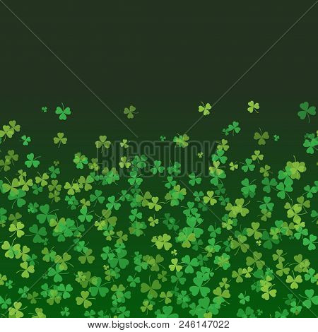 5097872 Saint Patrick's Day Frame With Green Tree Leaf Clovers On Black Background. Vector