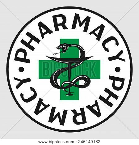 Pharmacy Icon On The Background Of The Sign Of The First Aid Cross Sign.