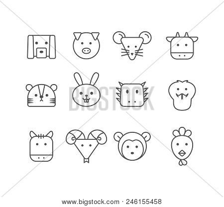 Simple Set Of Vector Thin Line Icons Chinese Zodiac, Editable Stroke