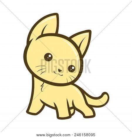 Cute Cartoon Cat Isolated Image On White Background.