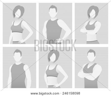 Default Placeholder Fitness Trainer In A T-shirt. Half-length Portrait Photo Avatar. Gray Color