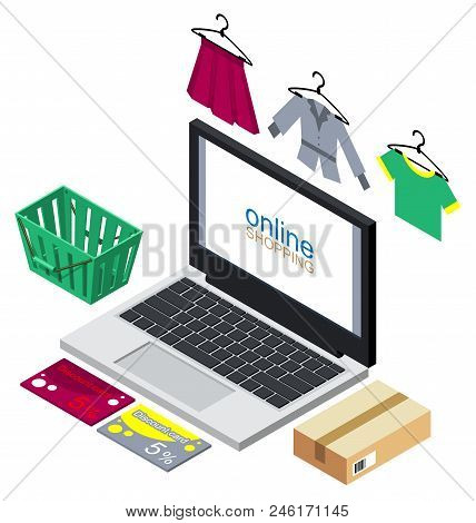 Online Shopping Concept Illustration. Buying Clothes Internet. Vector Isometric